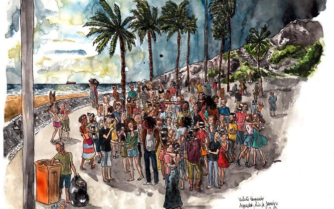 Portuguese in action, on a beach party in Rio. Illustration copyright Johanna Thomé de Souza (her Facebook).