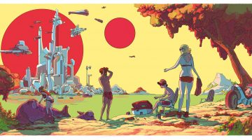 Multi-sun-bathing. The drawing is by Elliot Alfredius, from the Gliese CHZ book published by Peow Studio in Sweden. The book is sadly out of print but some of the other images from it can still be found on the publisher's Tumblr.