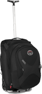 """Convertible"" carry-ons like the Osprey Ozone are usually wheeled around but can also pop up on your back with the slide-out straps. Head to our sister site for full reviews of this and other such bags."